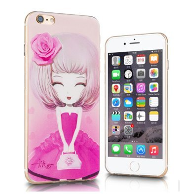 cinese rose iPhone 6s Plus/iPhone 6Plus TPU Shell Phone dipinto sollievo di copertura con un tappo antipolvere in silicone soft shell