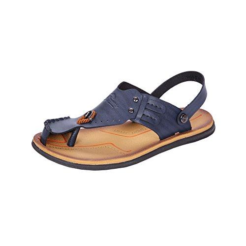 H&W Leder Offen Zeh Sandalen Herren Flip Flops mit Fesselriemen Blau