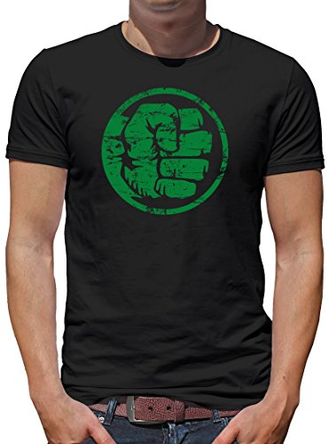 TLM Hulk Fist Bump T-Shirt Herren XXL Schwarz (Flash Superhelden Kostüm Hund)