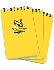 Rite in the Rain all-weather top-spiral notebook, modello universale 7,6x 12,7cm, 3pezzi Motivo pagine:  Universale 3x5 Yellow