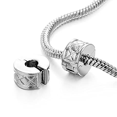 RUBYCA 10pcs Silver Color Clip Lock Stopper Clasp Beads DIY