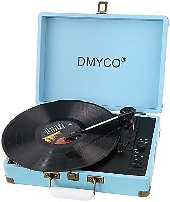 Tocadiscos Vinilo, DMYCO Tocadiscos Vintage 3 33/45/78 Velocidades con Altavoces Incorporados Salida USB PC Digitalizador Vinilos, Codificador a MP3, Entrada Linea AUX, Carcasa Protectora