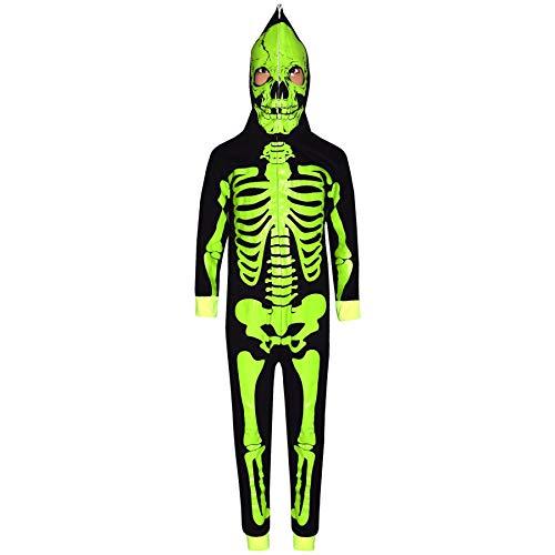 Mädchen Jungen Designer Skelett Aufdruck - Skeleton Onesie. Black_Neon Green 11- ()