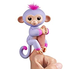 Fingerlings 2Tone Monkey - Sydney (Purple with Pink accents) - Interactive Baby Pet - By WowWee