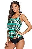 Boldgal Women's Swimwear Sleeveless Ruffle Layered Swim Top (Green)