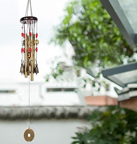 Windspiel, Bronze, 4 Metall-Zylinder, 5 Glocken, 60cm lang, für Garten, Ornament für den Außenbereich - 5