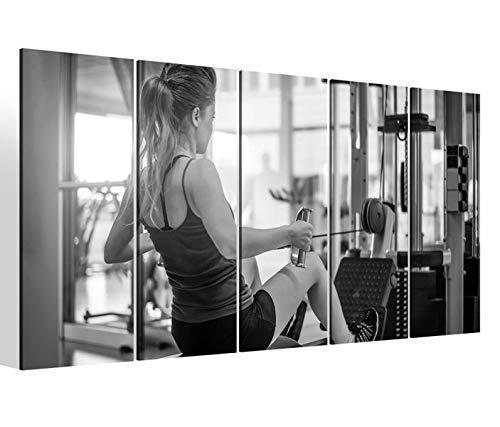 Leinwandbilder 5 teilig XXL 200x100cm schwarz weiß Sport Fitness Studio Geräte turnen Übung Druck auf Leinwand Bild 9BM2372