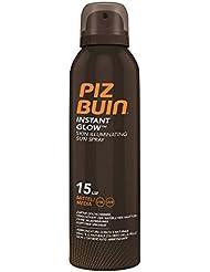 PIZ BUIN Instant Glow Skin Illuminating Sun Spray LSF 15 / Wasserfestes Sonnenschutz Spray mit zartem Goldschimmer Effekt / Nicht fettend / 150ml