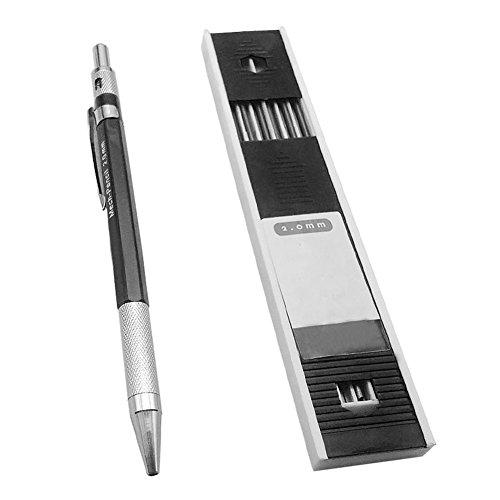 FOReverweihuajz Ausverkauf! 2 mm Blei Halter Automatischer Entwurf/mechanischer Entwurfs Stift mit 12 Stück Leads für Entwurfszeichnung, Tischler, Basteln, Kunst Skizzen