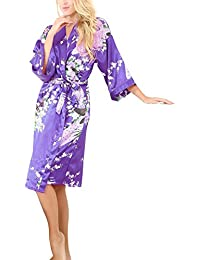 La Dearchuu Summer Dressing Gowns for Women UK Size 4-22 Satin Kimono Robes  for Brides Printing Peacock Ladies Nightwear Plus Size Lingerie… 0434af70f