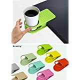 CONNECTWIDE Drink Cup Holder Clips To Table Desk Laptop Coffee Drinks Holder Clip (Get Free Smiley LED Flat Micro USB Charging Cable) Qty.1pcs Color:Green
