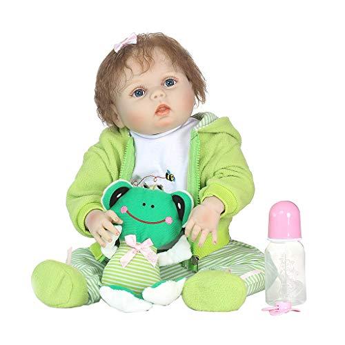 Meiqqm Babypuppe Weichkörper,22in Lebensechte Volle Silikon Puppe Cartoon Kleidung Streifen Hosen Mantel Haarspange Frosch Frühen Kindheit Kinder Baby Spielzeug