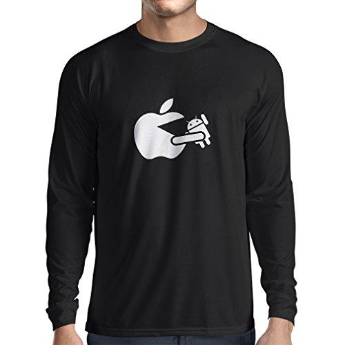 N4212L T-Shirt mit langen Ärmeln Lustige Apfel isst einen Roboter Unisex T-Shirt Schwarz Fluoreszierend