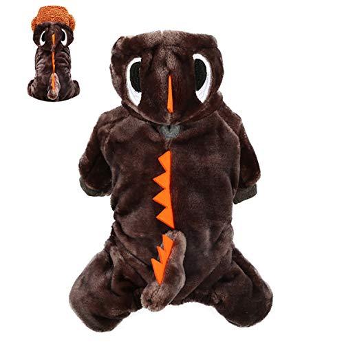 IHomiki Haustier-Plüsch-Outfit Dinosaurier-Kostüm-Welpen-Kleidung mit Kapuze für kleine Hunde & Katzen Frühling Winter-Overall-Mantel (Brown, XS)