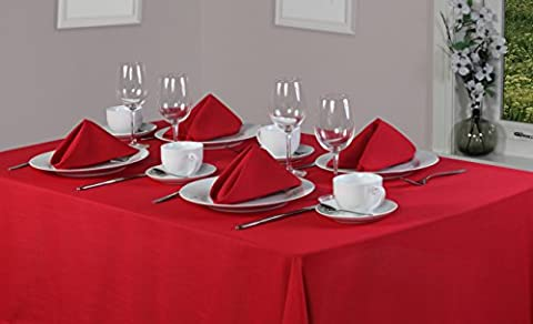 Essentials Collection Red Plain Polyester 70in x 90in (178cm x 228cm) Tablecloth And 8 Napkin Package Set. Oblong (Rectanglular) Tablecloth. Ideal For Christmas . Ideal For 6-8 Place Settings. All Sizes