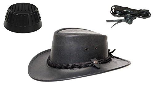 BC BacPac Traveller Hat - Australien Outback Edition - Black Steerhide - XXL 61-62 + Hutablage & Kinnriemchen - Stetson Buffalo