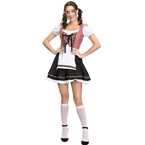 Vampir Traditionellen Nicht Kostüm - kMOoz Halloween Kostüm,Outfit Für Halloween Fasching Karneval Halloween Cosplay Horror Kostüm,Halloween-Oktoberfest-kostüm-Bayerisches Nationales Traditionelles Kostüm-Plaid-Bier-Kleid