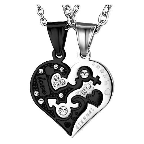 Collar Dije Para Novios Acero Inoxidable Corazon Love You Hipoalergen Regalo San Valentin Joyeria de Moda Original