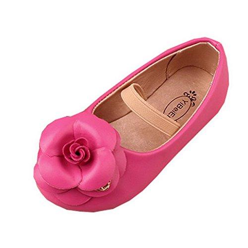 Evedaily Baby Mädchen Schuhe Lauflernschuhe weiche PU Lederschuhe Rose Rot