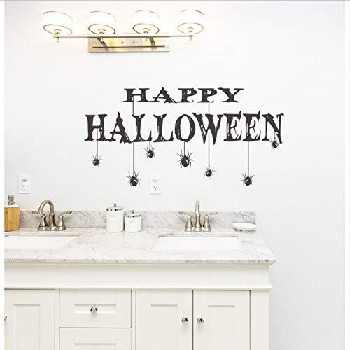 DongOJO Happy Halloween Quote Fototapete Home Spezielle Dekoration Zitate mit Spinne Vinyl Art Wallpaper Aufkleber 57x93cm