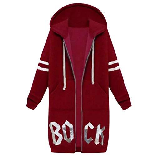JURTEE Damen Winter Mäntel,Lose Hoodie Sweatshirt Jacke Strickjacke Kapuzenjacke Übergangsjacke Ladies Oberbekleidung(Large,Rot) (90's Power Ranger Kostüm)
