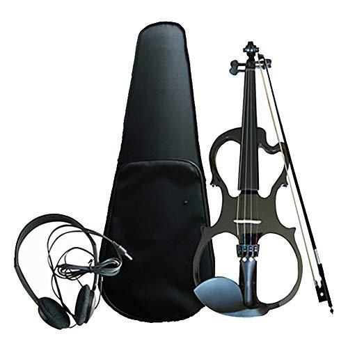 Elektrische Violine 4/4 Alle handgefertigten Massivholz Violine Elektronisches Musikinstrument Anfänger Erwachsenes Kind (mit Kopfhörer, Box, Bogen, Riemen),Black (Und Bögen Boxen)