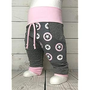 Baby Pumphose mit Tasche Gr.50-104 Sterne Grau Rosa handmade Puschel-Design