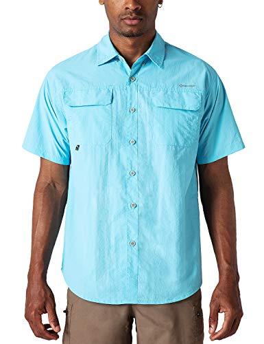 NAVISKIN Camisa Casual de Manga Corta Protección UV UPF 50 para Hombre Camiseta Deporte Térmica Pesca Acampada Campismo Senderismo Marcha Ligero Secado Rápido, Azul S