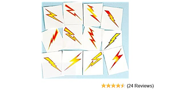 8654b1b73 Pack of 12 - Lightning Bolts Temporary Tattoos Party Loot Bag Fillers:  Amazon.co.uk: Toys & Games