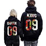 Soteer King und Queen Pullover Pärchen Casual Sweatshirts Pullis Damen und Herren Valentine Gift Hoodies mit Aufdruck