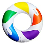Imported Inflatable Swim Ring Fun Rainbow Color Swimming Pool Float Raft 50cm