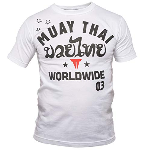 Throwdown Muay Thai T-Shirt Stripes - White - Sport Freizeit Gym Thaiboxen Kampfsport Shirt - Muay Thai Oberteil Kurzarm für Herren (XL)