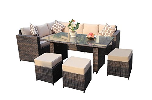 Yakoe Papaver Serie Wintergarten Outdoor 9 sitzer Ecksofa Poly Rattan Lounge Set Gartenmöbel Terrasse, Braun, 182 x 70 x 70 cm
