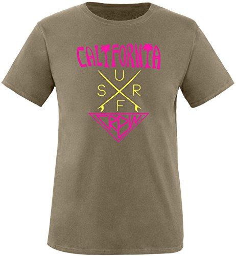 EZYshirt® California Surf Crew Herren Rundhals T-Shirt Olive/Pink/Gelb