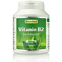 Vitamin B2 (Riboflavin), 250 mg, hochdosiert, 180 Vegi-Kapseln – gegen Kopfschmerzen und Migräne. Schützt Augen und Haut vor freien Radikalen (UV-Licht). OHNE künstliche Zusätze. Ohne Gentechnik. Vegan.