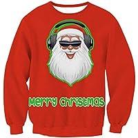 FOOBRTOPOO Novedad Navidad Mujeres Sudadera navideña Papá Noel Impreso suéter Cuello Redondo Outwear Tops otoño Invierno Manga Larga del o-Cuello Sport Jumpers Blusa -XL (Color : Red3, tamaño : L)