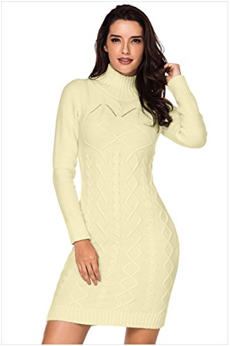 Houjibofa Frauen Cable Knit High Neck Pullover Kleid Aprikose S Cable Knit Hoodie Pullover