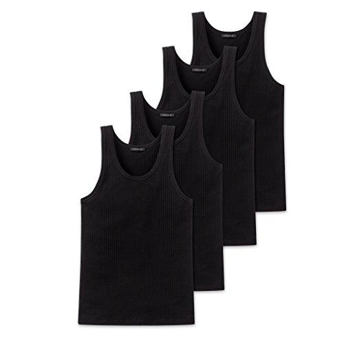 Schiesser Herren Unterhemd 4 X Schwarz