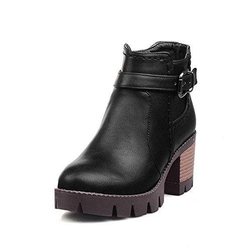 balamasa-ladies-chunky-heels-buckle-zipper-platform-black-imitated-leather-boots-55-uk