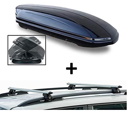 Dachbox VDPMAA460 460Ltr Duo beidseitig aufklappbar abschließbar + Dachträger CRV120 kompatibel mit Dacia Duster (5 Türer) 2010-2013