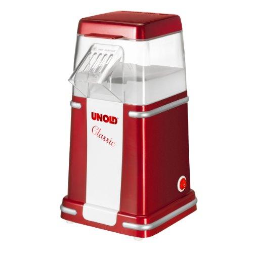 Unold 48525 Popcorn Maker Classic Heißluft Popcornmaschine für bis zu 100 g Mais, fettfrei, mit Messbecher, 900 Watt, rot/weiß, W, 220 V