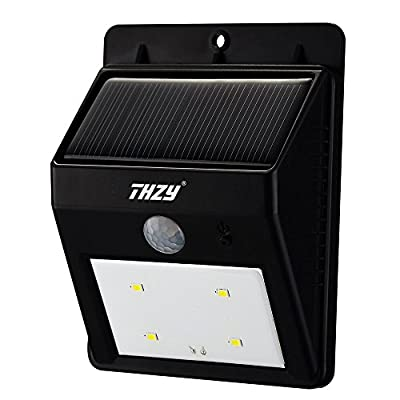 Security Motion Sensor Light - THZY Solar Powerd Wireless Bright 4 LED Security Motion Sensor Light, Outdoor Wall/garden Lamp / Motion Sensor-Detector Activated with Dusk to Dawn Dark Sensing Auto On / Off Function - inexpensive UK light shop.