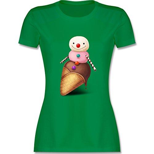 Statement Shirts - Eiscreme Schneemann - tailliertes Premium T-Shirt mit  Rundhalsausschnitt für Damen Grün