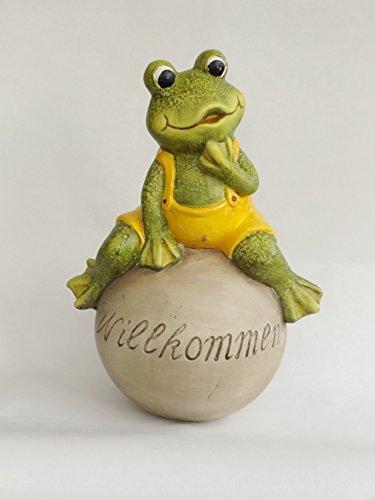 Frosch auf Kugel Lurch Gartendeko Deko Garten Tier Figur Gecko Skulptur Statue