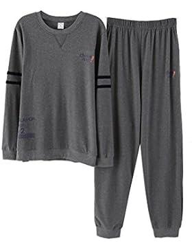 Conjunto de Pijama de Manga Larga de Algodón 100% de Hombre Pantalón Largo y Ropa de Dormir Superior Conjunto...