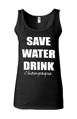 Save Water Drink Champagne Novelty White Femme Women Tricot de Corps Tank Top Vest *Noir