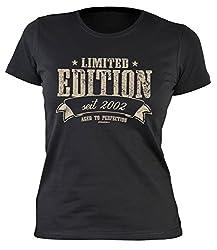 Tini - Shirts 18 Geburtstag Mädchen, Damenshirt Geburtstagshirt Frau 18 Jahre - Jahrgang 2002 : Limited Edition 2002 Aged to Perfection - Geschenk-Idee 18.Geburtstag Damenshirt - !! für 2020 !! Gr: S