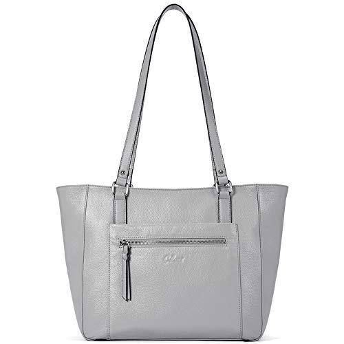 CLUCI Damen Handtaschen Weich Echtes Leder Groß Arbeitstasche Mode Henkeltaschen Tote für Frauen grau