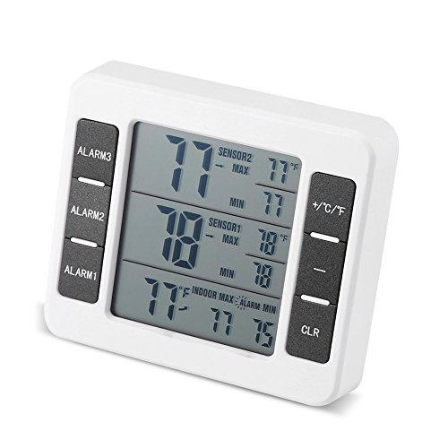 Fdit Kühlschrank Drahtlose Digital Akustischer Alarm Thermometer Mit 2 Stücke Sensor Min/Max Display