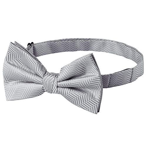 Jacob Alexander Men's Tone on Tone Herringbone Pre-Tied Bow Tie - Silver - Pretied Bow Tie
